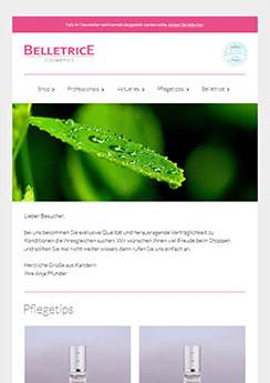 belletrice email template