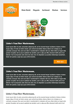 globus email newsletter template