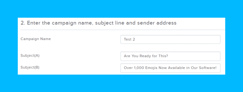 """An A/B test of two subject lines. One says """"Are You Ready for This?"""" The other says """"Over 1,000 Emojis Now Available in Our Software"""""""