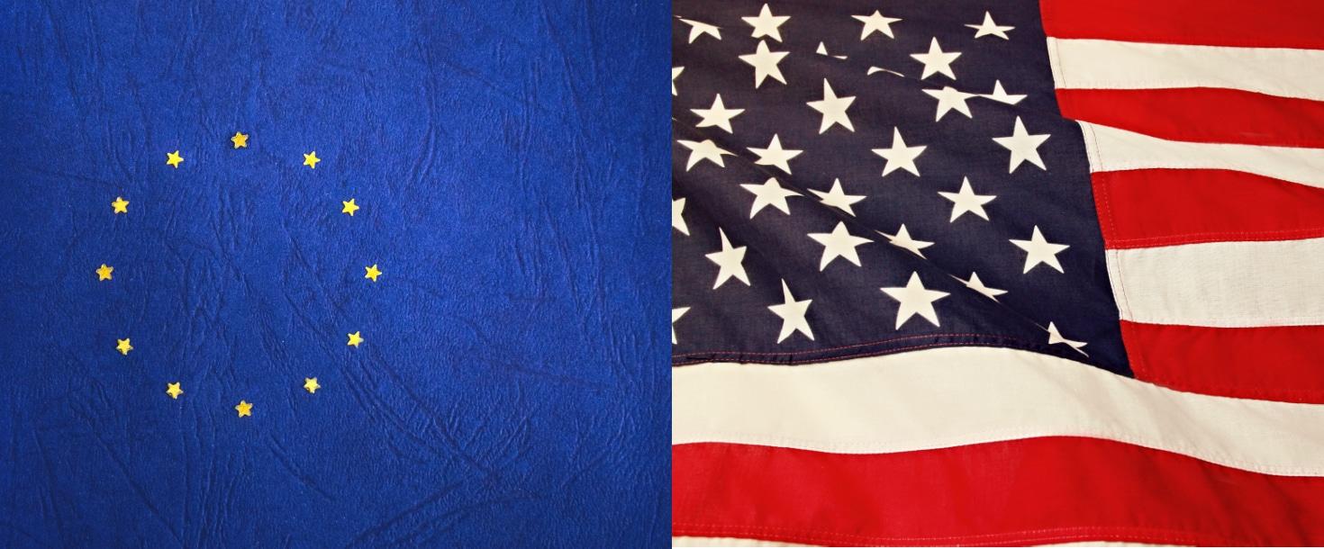 a european and an american flag
