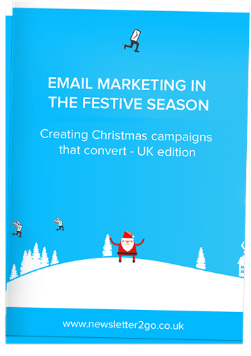 simple white and blue cover image with santa claus reads: email marketing in the festive season, creating Christmas campaigns that convert – UK edition