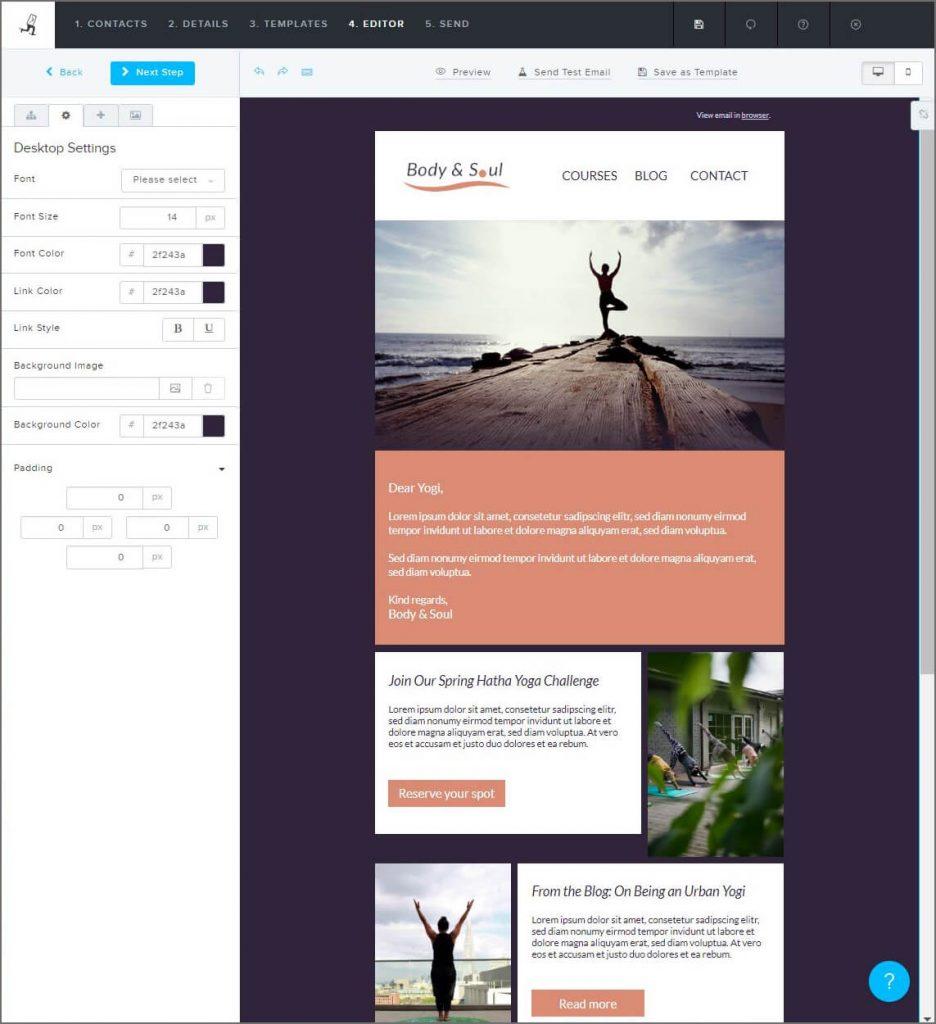 create-newsletter-for-yoga-studio